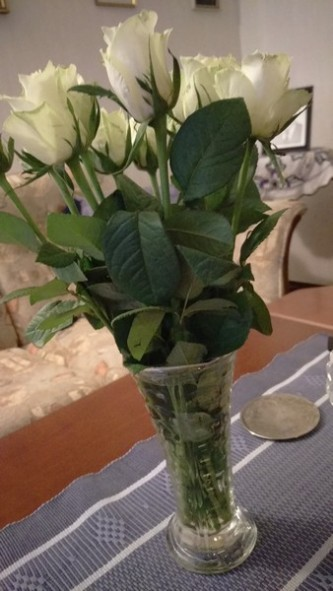 Jag fick en vacker bukett rosor för att jag uppdaterar föreningens hemsida