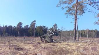 Det gamla jakttornet har ramlat omkull
